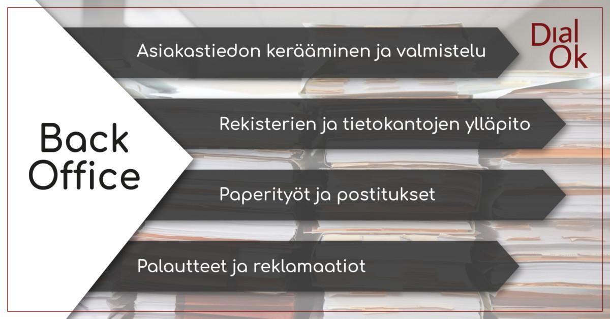 DialOk back office -palvelun avulla ulkoistat paperipinot ja rutiinit.